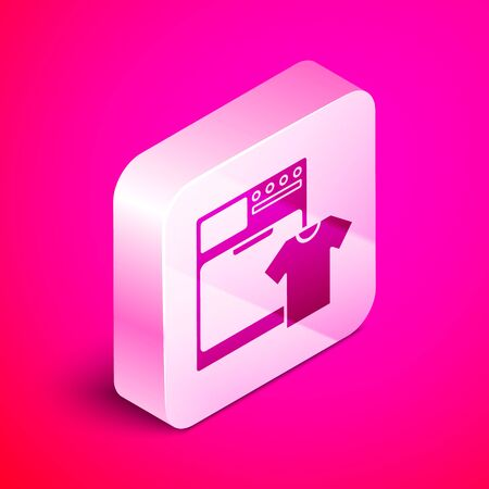 Isometric Washer and t-shirt icon isolated on pink background. Washing machine icon. Clothes washer - laundry machine. Home appliance symbol. Silver square button. Vector Illustration