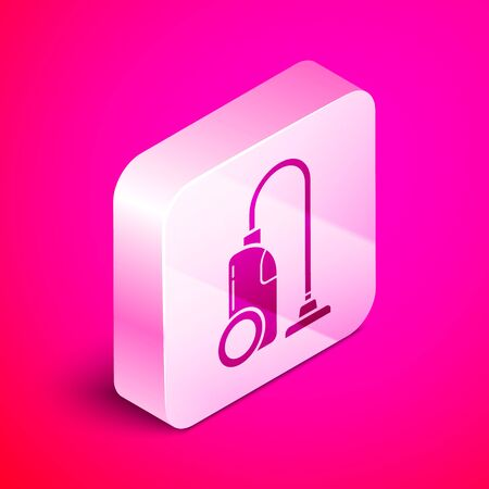 Isometric Vacuum cleaner icon isolated on pink background. Silver square button. Vector Illustration