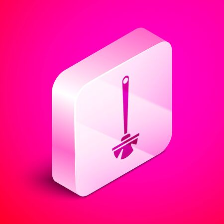 Isometric Toilet brush icon isolated on pink background. Silver square button. Vector Illustration 向量圖像