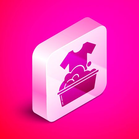 Isometric Plastic basin with soap suds icon isolated on pink background. Bowl with water. Washing clothes, cleaning equipment. Silver square button. Vector Illustration Banque d'images - 130642626
