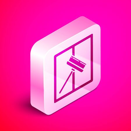 Isometric Cleaning service with of rubber cleaner for windows icon isolated on pink background. Squeegee, scraper, wiper. Silver square button. Vector Illustration