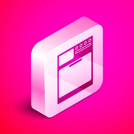 Isometric Washer icon isolated on pink background. Washing machine icon. Clothes washer - laundry machine. Home appliance symbol. Silver square button. Vector Illustration