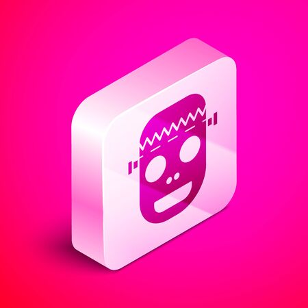 Isometric Zombie mask icon isolated on pink background. Happy Halloween party. Silver square button. Vector Illustration