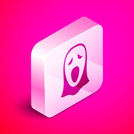 Isometric Funny and scary ghost mask for Halloween icon isolated on pink background. Happy Halloween party. Silver square button. Vector Illustration