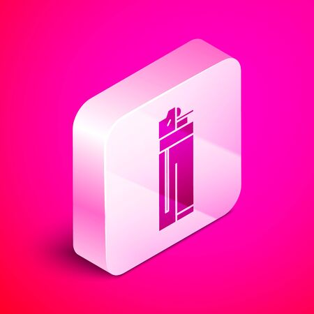 Isometric Lighter icon isolated on pink background. Silver square button. Vector Illustration