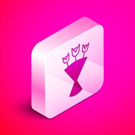 Isometric Bouquet of flowers icon isolated on pink background. Silver square button. Vector Illustration Иллюстрация
