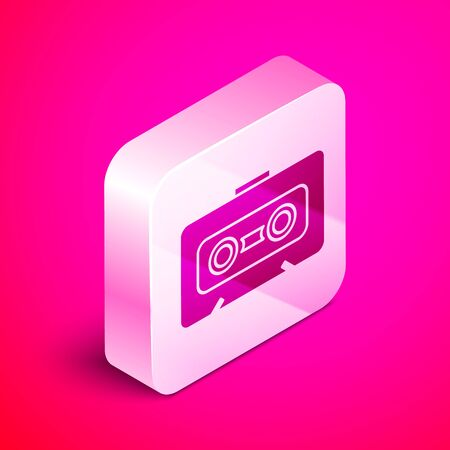 Isometric Retro audio cassette tape icon isolated on pink background. Silver square button. Vector Illustration Stock Illustratie