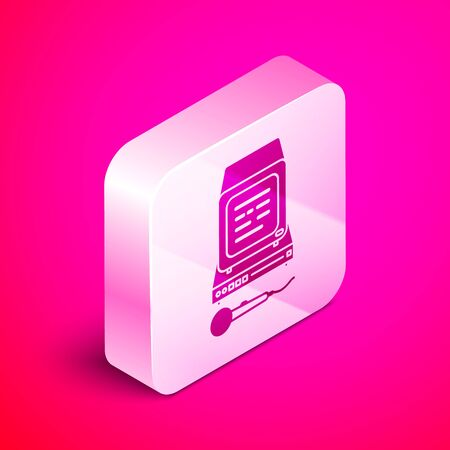 Isometric Karaoke icon isolated on pink background. Microphone and monitor. Silver square button. Vector Illustration Stock Illustratie