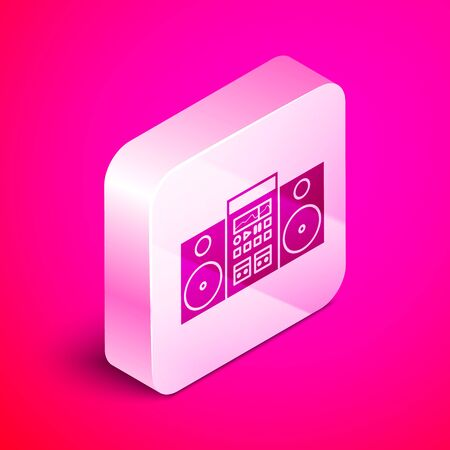 Isometric Home stereo with two speakers icon isolated on pink background. Music system. Silver square button. Vector Illustration