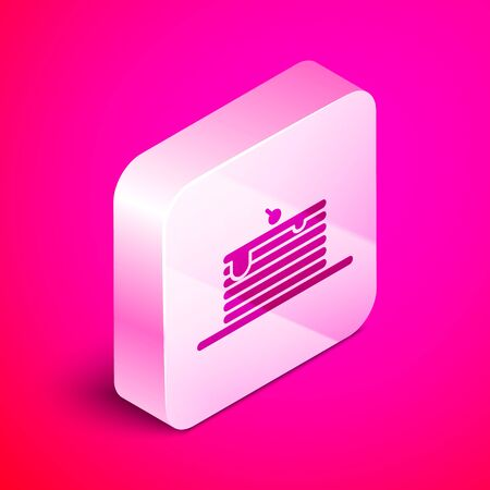 Isometric Stack of pancakes icon isolated on pink background. Baking with syrup and cherry. Breakfast concept. Silver square button. Vector Illustration