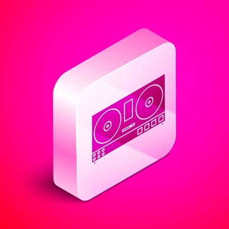 Isometric DJ remote for playing and mixing music icon isolated on pink background. DJ mixer complete with vinyl player and remote control. Silver square button. Vector Illustration