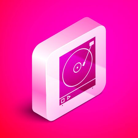 Isometric Vinyl player with a vinyl disk icon isolated on pink background. Silver square button. Vector Illustration 일러스트