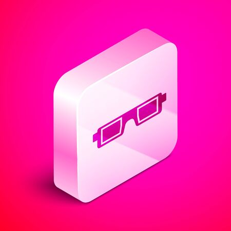 Isometric 3D cinema glasses icon isolated on pink background. Silver square button. Vector Illustration Illustration