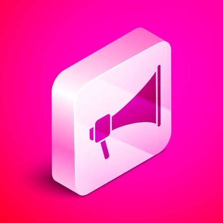 Isometric Megaphone icon isolated on pink background. Speaker sign. Silver square button. Vector Illustration Çizim