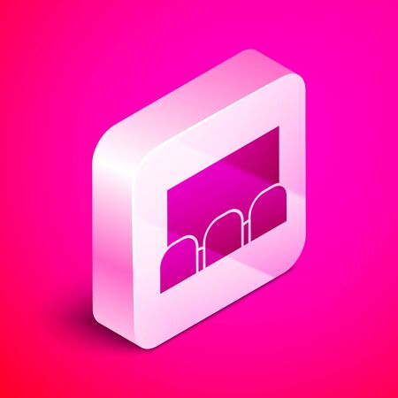 Isometric Cinema auditorium with screen and seats icon isolated on pink background. Silver square button. Vector Illustration