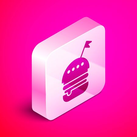 Isometric Burger icon isolated on pink background. Hamburger icon. Cheeseburger sandwich sign. Fast food menu. Silver square button. Vector Illustration