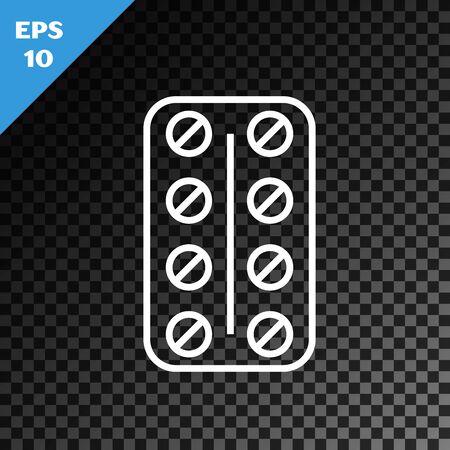 White line Pills in blister pack icon isolated on transparent dark background. Medical drug package for tablet vitamin, antibiotic, aspirin. Vector Illustration Stok Fotoğraf - 130641195