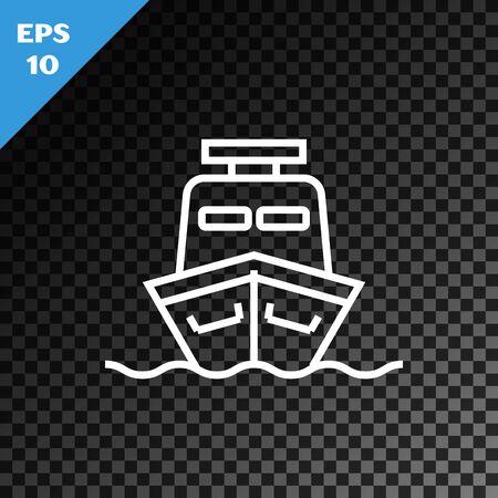 White line Ship icon isolated on transparent dark background. Vector Illustration Illustration
