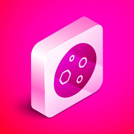 Isometric Cookie or biscuit with chocolate icon isolated on pink background. Silver square button. Vector Illustration