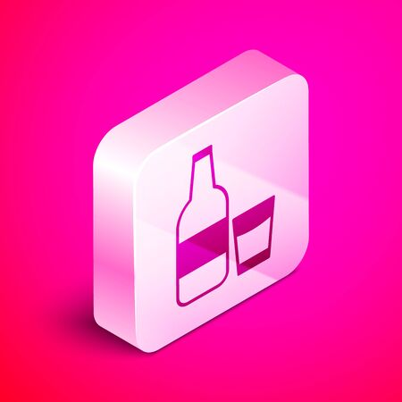 Isometric Closed glass bottle with milk and glass icon isolated on pink background. Silver square button. Vector Illustration