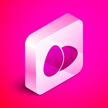 Isometric Chicken egg icon isolated on pink background. Silver square button. Vector Illustration Иллюстрация