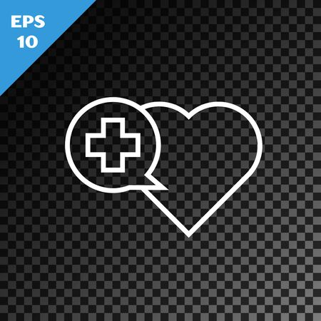 White line Heart with a cross icon isolated on transparent dark background. First aid. Healthcare, medical and pharmacy sign. Vector Illustration Иллюстрация