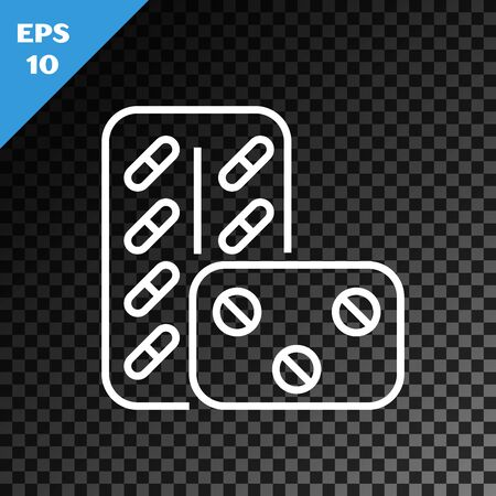 White line Pills in blister pack icon isolated on transparent dark background. Medical drug package for tablet vitamin, antibiotic, aspirin. Vector Illustration Фото со стока - 130641037