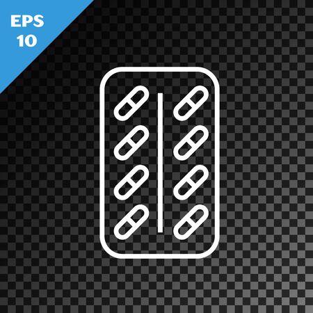 White line Pills in blister pack icon isolated on transparent dark background. Medical drug package for tablet vitamin, antibiotic, aspirin. Vector Illustration Stok Fotoğraf - 130641042