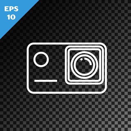 White line Action extreme camera icon isolated on transparent dark background. Video camera equipment for filming extreme sports. Vector Illustration Stock Illustratie