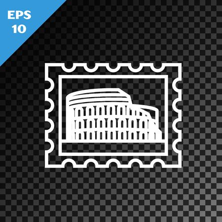 White line Postal stamp and Coliseum icon isolated on transparent dark background. Colosseum sign. Symbol of Ancient Rome, gladiator fights. Vector Illustration