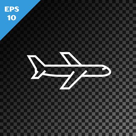 White line Plane icon isolated on transparent dark background. Flying airplane icon. Airliner sign. Vector Illustration