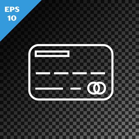 White line Credit card icon isolated on transparent dark background. Online payment. Cash withdrawal. Financial operations. Shopping sign. Vector Illustration