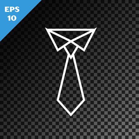 White line Tie icon isolated on transparent dark background. Necktie and neckcloth symbol. Vector Illustration Illustration