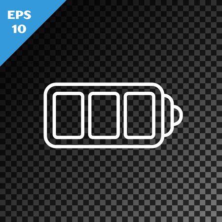 White line Battery charge level indicator icon isolated on transparent dark background. Vector Illustration