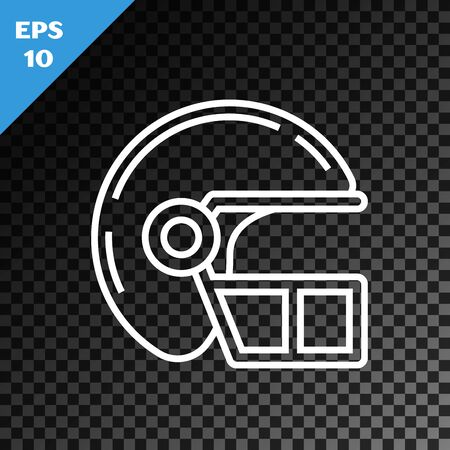 White line American football helmet icon isolated on transparent dark background. Vector Illustration Banque d'images - 130717062