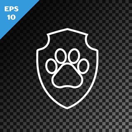 White line Animal health insurance icon isolated on transparent dark background. Pet protection icon. Dog or cat paw print. Vector Illustration Banque d'images - 130717727
