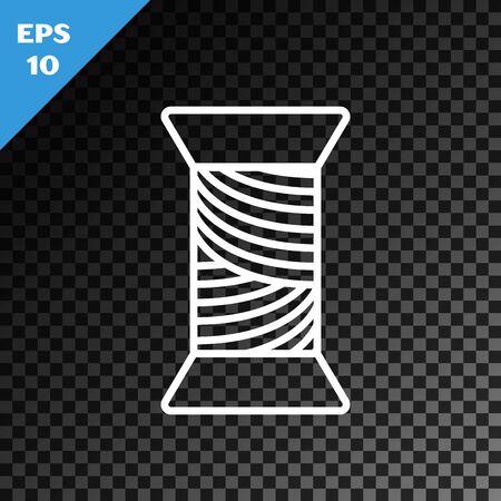 White line Sewing thread on spool icon isolated on transparent dark background. Yarn spool. Thread bobbin. Vector Illustration