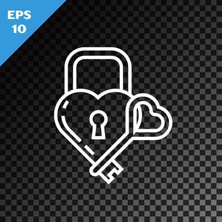 White line Castle in the shape of a heart and key icon isolated on transparent dark background. Locked Heart. Love symbol and keyhole sign. Vector Illustration