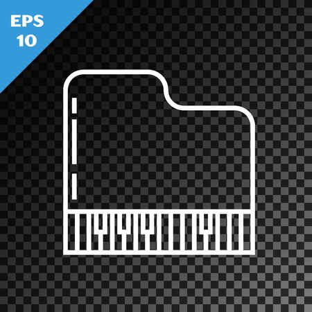 White line Grand piano icon isolated on transparent dark background. Musical instrument. Vector Illustration Ilustracja