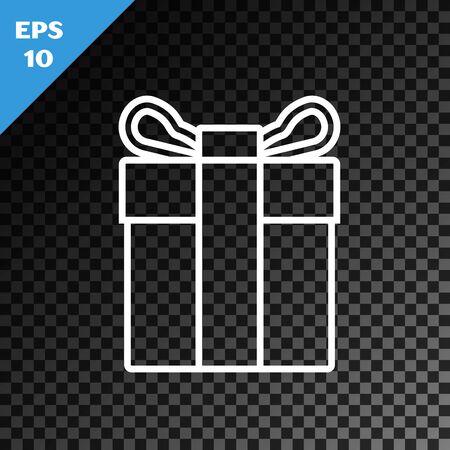 White line Gift box icon isolated on transparent dark background. Vector Illustration Illustration