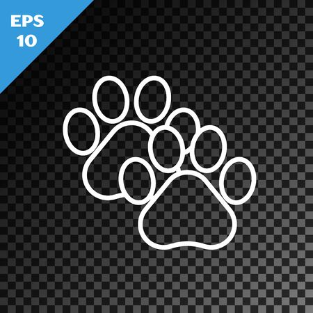 White line Paw print icon isolated on transparent dark background. Dog or cat paw print. Animal track. Vector Illustration