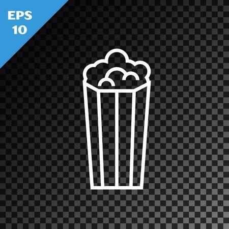 White line Popcorn in cardboard box icon isolated on transparent dark background. Popcorn bucket box. Vector Illustration