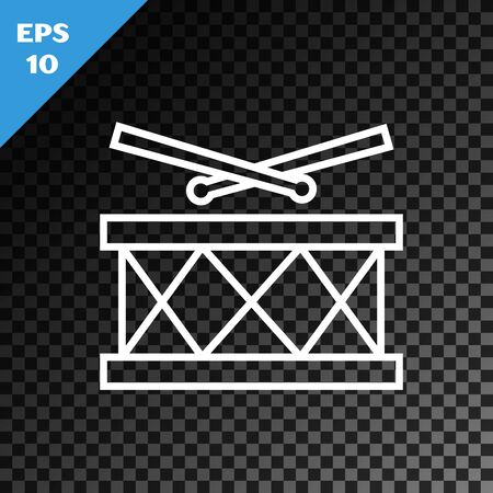 White line Drum with drum sticks icon isolated on transparent dark background. Music sign. Musical instrument symbol. Vector Illustration Ilustracja