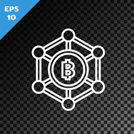 White line Blockchain technology Bitcoin icon isolated on transparent dark background. Abstract geometric block chain network technology business. Vector Illustration