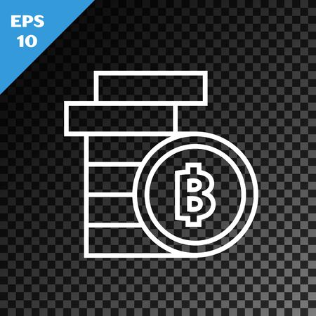 White line Cryptocurrency coin Bitcoin icon isolated on transparent dark background. Physical bit coin. Blockchain based secure crypto currency. Vector Illustration