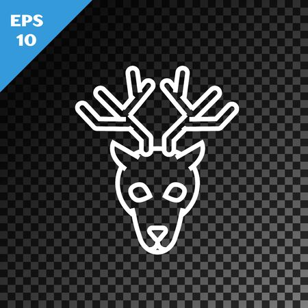 White line Deer head with antlers icon isolated on transparent dark background. Vector Illustration Stock Illustratie