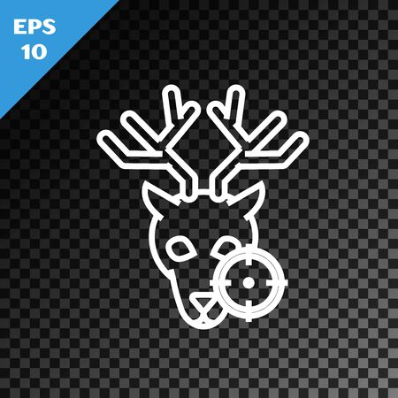 White line Hunt on deer with crosshairs icon isolated on transparent dark background. Hunting club logo with deer and target. Rifle lens aiming a deer. Vector Illustration