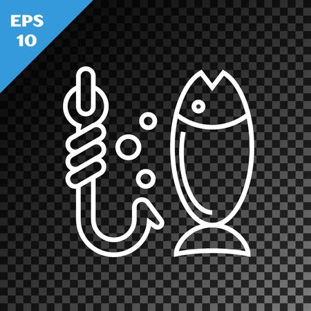 White line Fishing icon isolated on transparent dark background. Fish and hook. Strategy concept. Bait sign. Vector Illustration