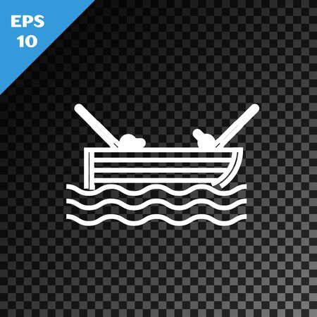 White line Fishing boat with fishing rod on water icon isolated on transparent dark background. Vector Illustration