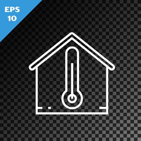 White line House temperature icon isolated on transparent dark background. Thermometer icon. Vector Illustration